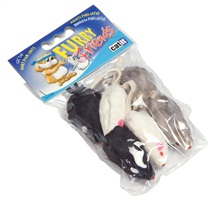 "Catit Furry Friends Cat Toy - 2"" Fur Mouse - 6 mice"