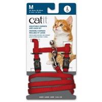 Catit Adjustable Nylon Harness & Leash Set - Red - Medium