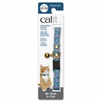 Catit Adjustable Breakaway Nylon Collar with Rivets - Blue with Pink Hearts - 20-33 cm (8-13 in)