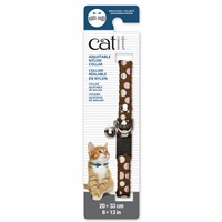 Catit Adjustable Breakaway Nylon Collar with Rivets - Brown with Polka Dots - 20-33 cm (8-13 in)