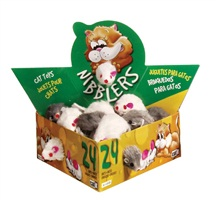 Catit Nibblers Fur Mice Cat Toy - Deluxe Fur Mice Display Box - 24 small mice