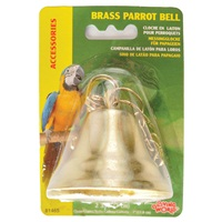 "Living World Brass Parrot Bell with Chain - 6.5 cm (2.5"") diameter"