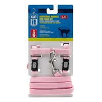 Catit Adjustable Nylon Cat Harness & Leash Set - Pink - Large