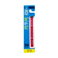 "Catit Buckle Adjustable Nylon Cat Collar with Rhinestones - Red - 9.5 mm (3/8"") x 20 cm-33 cm (8-13"")"