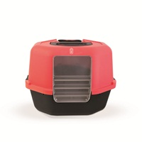Catit Corner Hooded Cat Pan - Red & Charcoal