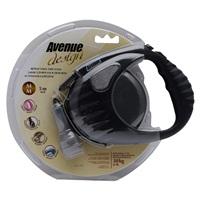 Avenue Dog Retractable Tape Leash - Black - Medium - 5 m (16 ft)