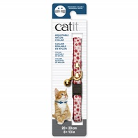 Catit Adjustable Breakaway Nylon Collar with Rivets - Red & White with Flowers - 20-33 cm (8-13 in)