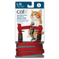 Catit Adjustable Nylon Harness & Leash Set - Red - Large