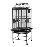 HARI Playtop Parrot Cage - Silver Antique Black - 61 L x 56 W x 162 H cm (24 in x 22 in x 64 in)