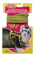 Living World Adjustable Harness and Lead Set for Ferrets - Green - 1.2 m (4 ft)