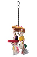 Living World Junglewood Bird Toy - Rope Chime with Bell, Cylinder, Block and Bead with Hanging Clip