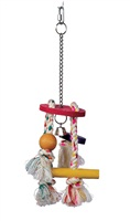 Living World Junglewood Bird Toy - Rope Chime with Round Top, Bell Bead, Block, Cylinder and Peg with Hanging Clip
