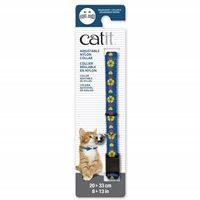 Catit Adjustable Breakaway Nylon Collar - Blue with Flowers - 20-33 cm (8-13 in)