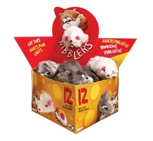 Catit Nibblers Fur Mice Cat Toy - Deluxe Fur Mice Display Box - 12 large mice