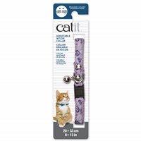 Catit Adjustable Breakaway Nylon Collar with Rivets - Pink with Purple Hearts - 20-33 cm (8-13 in)