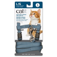 Catit Adjustable Nylon Harness & Leash Set - Light Blue - Large