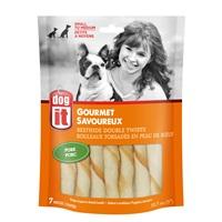 "Dogit Beefhide Double Twists - Pork Flavour - 12.7 cm (5"") – 7 pack"