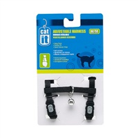 Catit Adjustable Nylon Cat Harness - Black - Medium