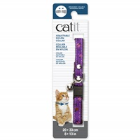 Catit Adjustable Breakaway Nylon Collar with Rivets - Purple with Ladybugs - 20-33 cm (8-13 in)