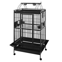 HARI Playtop Parrot Cage - Silver Antique Black - 91 L x 71 W x 174 H cm (36 in x 28 in x 68.5 in)