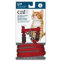 Catit Adjustable Nylon Harness & Leash Set - Red - Small