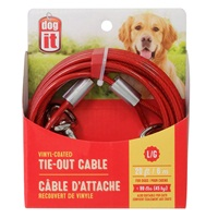 Dogit Tie-Out Cable - Red - Large - 6 m (20 ft)