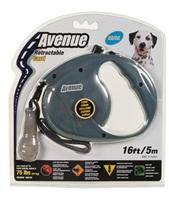 Avenue Dog Retractable Cord Leash - Gray - Medium - 5 m (16 ft)