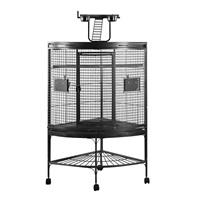 HARI Playtop Corner Parrot Cage - Silver Antique Black - 94 L x 66 W x 159 H cm (37 in x 26 in x 62.5 in)