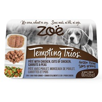 Zoë Tempting Trios Pâté with Chicken, Cuts of Chicken, Carrots & Peas - 100 g (3.5 oz)