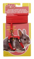 Living World Adjustable Harness and Lead Set For Dwarf Rabbits - Red - 1.2 m (4 ft)