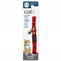 Catit Adjustable Breakaway Nylon Collar with Rivets - Red Nautical - 20-33 cm (8-13 in)