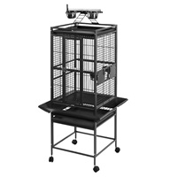 HARI Playtop Parrot Cage - Silver Antique Black - 46 L x 46 W x 142 H cm (18 in x 18 in x 56 in)