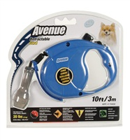 Avenue Dog Retractable Cord Leash - Blue - Extra Small - 3 m (10 ft)