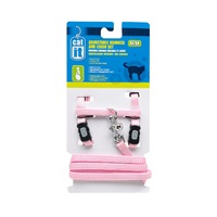 Catit Adjustable Nylon Cat Harness & Leash Set - Pink - Medium