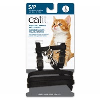 Catit Adjustable Nylon Harness & Leash Set - Black - Small
