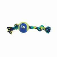 K9 Fitness by Zeus Knotted Rope Bone with Tennis Ball - Small - 22.86 cm (9 in)