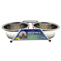 Dogit Stainless Steel Double Dog Diner - Medium - With 2 x 750 ml (25 fl oz) bowls and stand