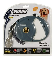 Avenue Dog Retractable Cord Leash - Gray - Large - 8 m (26 ft)