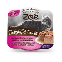 Zoë Delightful Duets Savory Pâté with Chicken & Flakes of Salmon in Gravy - 80 g (2.8 oz)