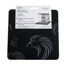 Tapis Marina pour aquarium équipé Marina pour betta, noir avec motif de bettas gris