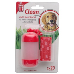 Dogit Bag Dispenser - 2 Rolls/20 Bags - 29.5 x 23 cm (11.6 x 9 in) - Red