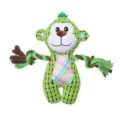 Dogit Stuffies Dog Toy - Nubby Plush & Rope Green Monkey - 23 cm (9 in)