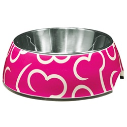 Dogit Style 2-in-1 Dog Dish - Pink Bones - Small - 350 ml (11.8 fl oz)