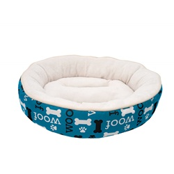 Dogit DreamWell Dog Cuddle Bed - Round - Blue Woof - 53 cm dia (21 in)