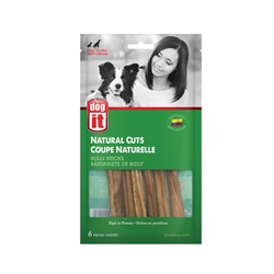 "Dogit Natural Cuts Bully Sticks - Straight - 12.7-15.2 cm (5-6"") - 6 pack"