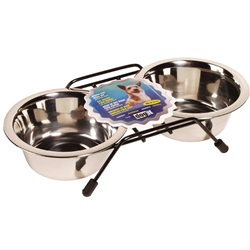 Dogit Stainless Steel Double Dog Diner - Small - With 2 x 400 ml (13.5 fl oz) bowls and stand