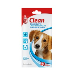 "Dogit Clean Grooming Wipes - Unscented - 40 pack - 15 x 20 cm (6 x 8"")"