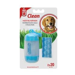 Dogit Bag Dispenser - 2 Rolls/20 Bags - 29.5 x 23 cm (11.6 x 9 in) - Blue