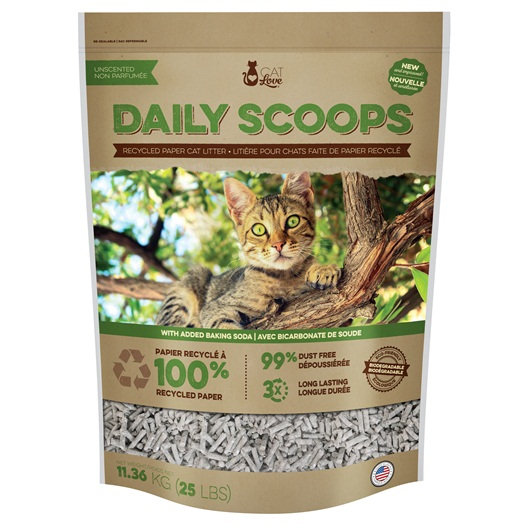 37504 Cat Love Daily Scoops Recycled Paper Litter 25 Lb