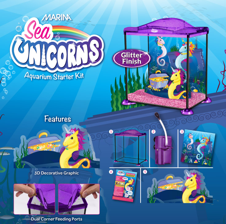 Marina Sea Unicorns Aquarium Starter Kit